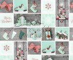 Kartonpapír - Karácsonyi hangulat fotómontázs, Mentazöld karácsonyi díszekkel mintázott