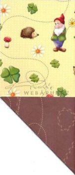 Kartonpapír - Szerencsehozók, Törpe, süni, négylevelű lóhere mintás karton, 29,5x20cm, 1 lap