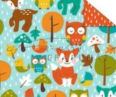 Kartonpapír - Mesevilág Erdei állatok mintás karton kék háttérrel, őzike, róka, bagoly