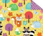 Kartonpapír - Mesevilág Erdei állatok mintás karton sárga háttérrel, mókus, mosómaci