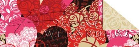 Piros szívek és rózsák, Mintás karton