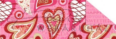 Kartonpapír - Díszített szívek, rózsaszín feliratok mintás karton, 29,5x20cm, 1 lap