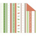 Kartonpapír- Karácsonyi klasszikus piros-zöld-fehér, szarvasos és hópelyhes, csíkos designkarton, 1