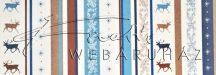 Kartonpapír - Karácsony, kék, Rénszarvas csíkos tapéta mintás Karton, 29,5x20cm, 1 lap
