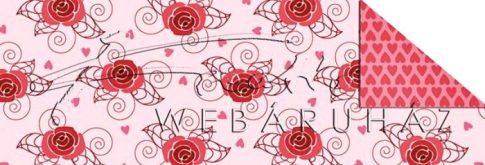 Kartonpapír - Poesie rajzolt piros rózsás mintás karton, 29,5x20cm, 1 lap