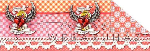 Kartonpapír - Patchwork Crazy love szárnyas szív sormintás karton, 29,5x20cm