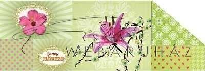 Kartonpapír - Tavaszi virágok zöld alapon, színes karton, 1 lap