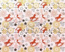 Kartonpapír - Karácsonyi varázslat téglavörös-narancs Hintalovak hópelyhekkel sormintás