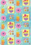 Kartonpapír - Happy mintás karton, Vidám, színes virágok kék háttérrel, 29,5x20cm, 1 lap