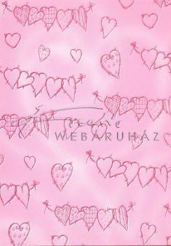Kartonpapír - Szívdobbanás Rózsaszín skiccelt szív mintás Karton, 29,5x20cm, 1 lap