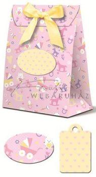Rózsaszín mintás ajándékdobozok baba váró partira