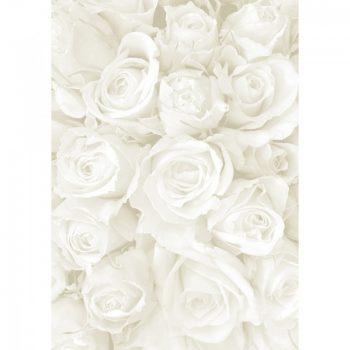 Kartonpapír - Esküvői Starlight karton, Nagy fehér és ezüst rózsa mintás design karton, A4, 25lap