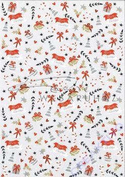 Kartonpapír csomag - Karácsonyi díszek minta - A4, 5lap/csomag