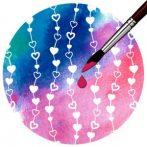Kartonpapír, mágikus - Szívek, varázslatos színváltós esküvői design karton - 1 lap