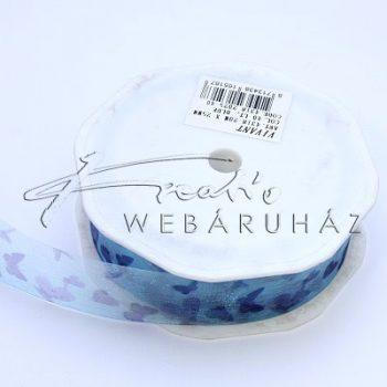 Pillangó mintás, kék színű, 3m szalag